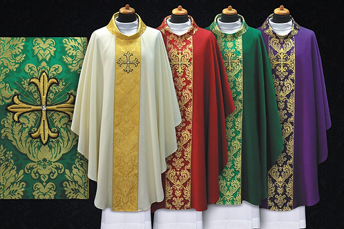 Embroidered Cross Chasuble Made of Light Modern Fabrics