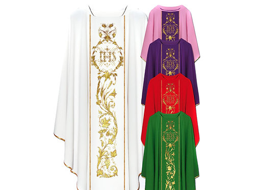 Embroidered IHS Chasuble Set of 5