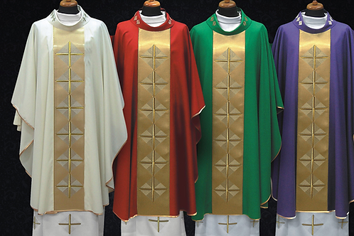 Vestment Set Decorated with Satin Cross Design Wool Chasuble