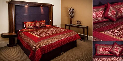 Red silk bedthrow