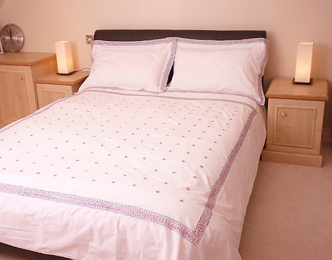 Pink and blue flower King size duvet cover set