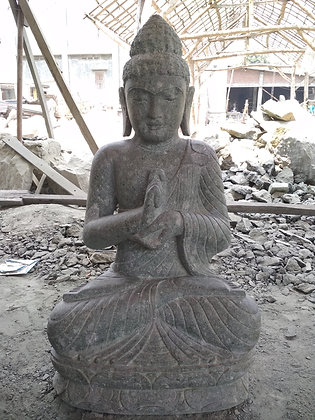 Sitting Buddha - Green Lava Stone - 3.25 ft