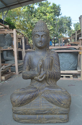 Sitting Buddha - Green Lava Stone - 2.5 ft