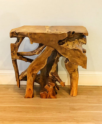 Teak Root Console - Raw Finish - 2.6 ft
