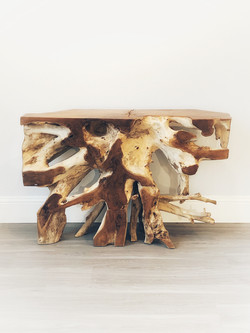 Teak Root Console Table - Natural Finish