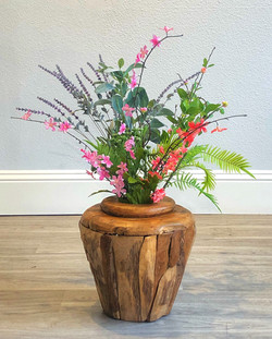 Wood Vase Small - With Flowers.jpe