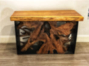 Iron Root Constole Table with Topper - T