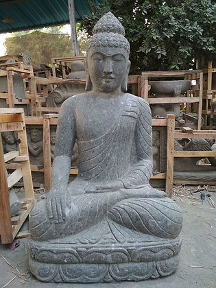 Sitting Buddha - Green Lava Stone - 4 ft