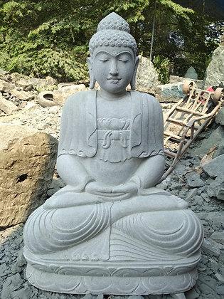 Sitting Javanese Buddha - River Stone - 3.25 ft