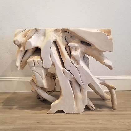 Teak Root Console - Bone Finish - 2.6 ft