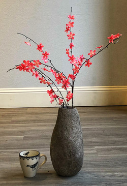 Stone Vase Narrow - Scale with Flowers.j