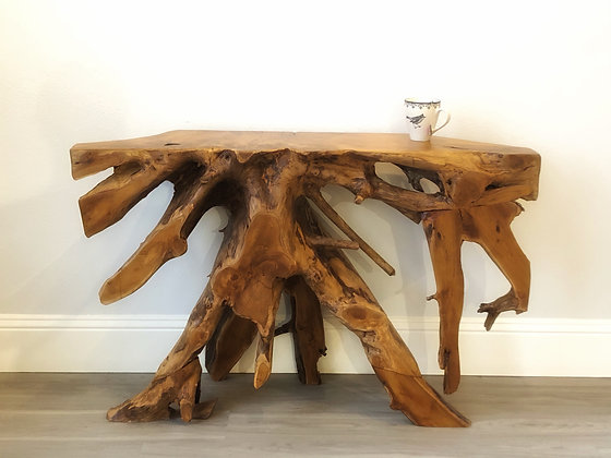 Teak Root Console - Raw Finish - 4 ft
