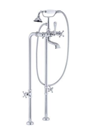 A chrome polish roman tub filler shot in studio for a high end plumbing catalog