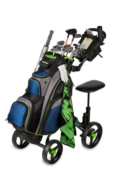 A BagBoy push cart and golf bag product shoot on a seamless white background