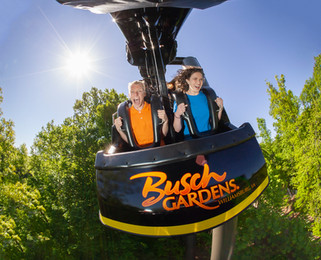 A family rides an exhilirating roller coaster at Busch Gardens Williamsburg on a bright, beautiful summer day in Virginia.