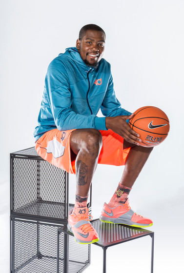 Kevin Durant poses for a portrait advertising his new shoes.