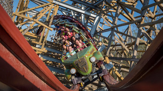 A specialized camera mounting rig captured this hybrid roller coaster full of excited riders at Kings Dominion in Virginia.