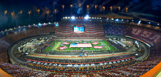 Pregame fireworks show at Bristol Motor Speedway during the largest college football game