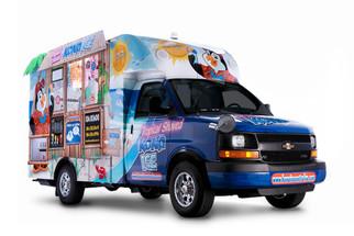 A full-sized food truck shot in studio for Kona Ice