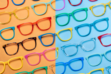 A poppy commercial advertising image of several different combinations of designer Knockaround sunglasses.