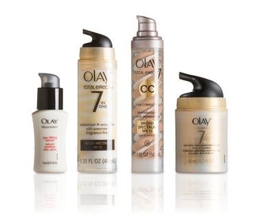 A picture featuring the different bottle shapes and sizes within the Olay skin care product line