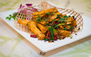Food photography of a traditional Szechuan style dish prepared by world-class chef Peter Chang