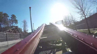 A point-of-view video onboard Twisted Timbers, a hybrid steel and wood rollercoaster at Kings Dominion in Virginia