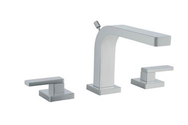 A chrome polish three hole lavatory faucet shot on a seamless background