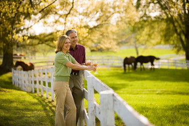 An advertising image of a couple looking out over a verdant pasture enjoying wine in Virginia's wine region.