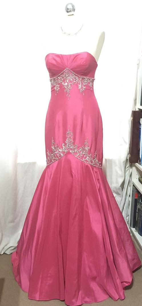 Pink Taffeta Fishtail Prom Dress - Size 10