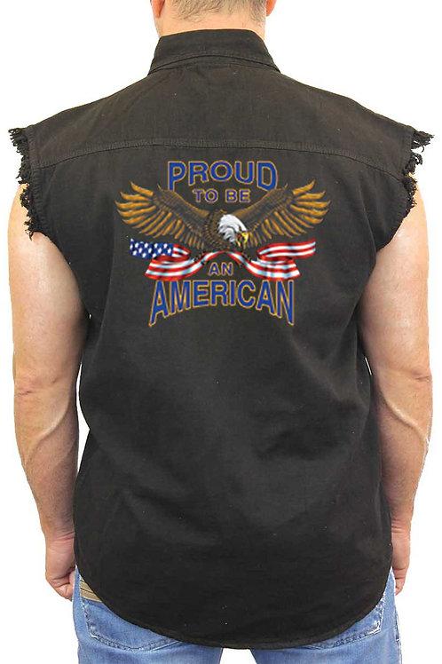 Men's Sleeveless Denim Shirt USA Flag Proud to Be American Denim Vest