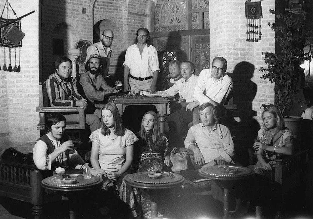 Stockhausen (back, centre) in Shiraz, September 1972, with several of the Expo 70 performers: front: P. Eötvös, D. von Biel, G. Rodens, W. Fromme, H. Albrecht; second row, second from left: H.-A. Billig; far right: C. Caskel. Also in the photograph, but who was not involved in the Expo 70 performances of Spiral, standing at the left, next to the composer, is the sound engineer Volker MüllerUnknown - Archiv der Stockhausen-Stiftung für Music, Kürten, www.stockhausen.org Shiraz-Festival 1972, tea house Seraye Moshir, Shiraz. Last row standing: Volker Müller, Karlheinz Stockhausen. Last row sitting: Karl O. Barkey, Hans-Aldrich Billig, Wolfgang Lüttgen, Günther Engels, Christoph Caskel. First row: Péter Eötvös, Dagmar von Biel, Gaby Rodens, Wolfgang Fromme, Helga Hamm-Albrecht.