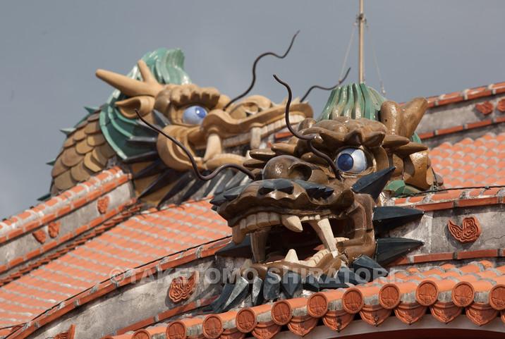 首里城正殿・唐玻豊(からはふう)の龍頭棟飾