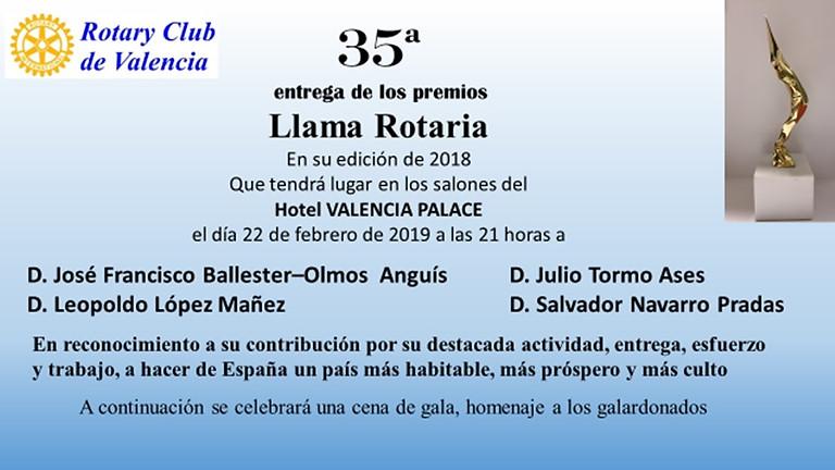 Rotary Club de Valencia 35 entrega de los premios Llama Rotaria
