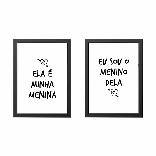 Conjunto de Quadros Menina e Menino Moldura Branca ou PretaA3 - Wall Done