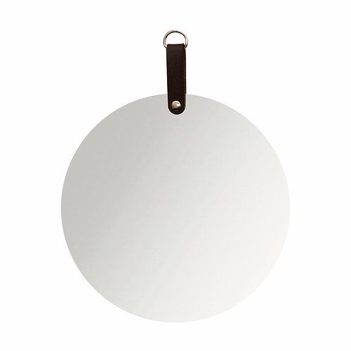 Espelho redondo com detalhe couro marrom ou preto