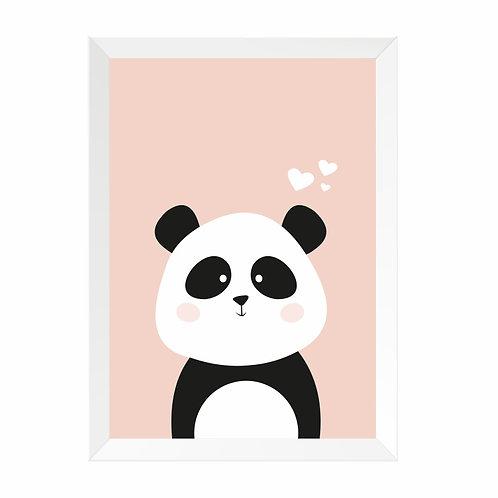 Quadro Panda Moldura Branca e Pinus A4