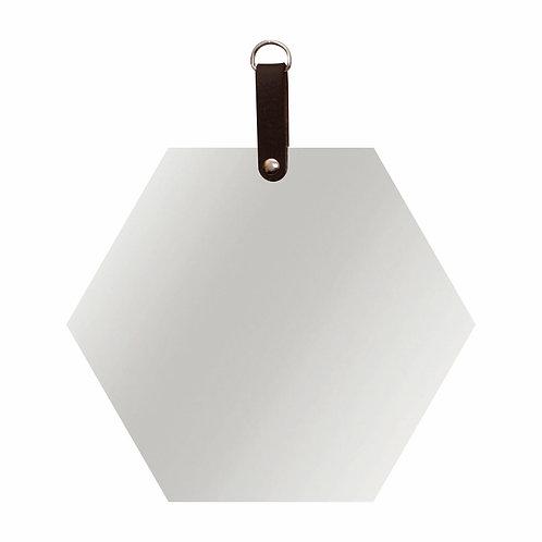 Espelho hexágono com detalhe couro marrom ou preto