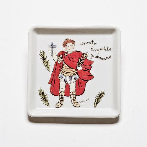Prato Quadrado Pequeno Santo Expedito | Santeiro