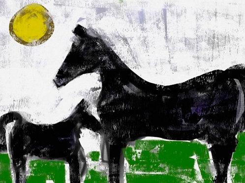 Cavalos em Fundo Verde - Cris Conde
