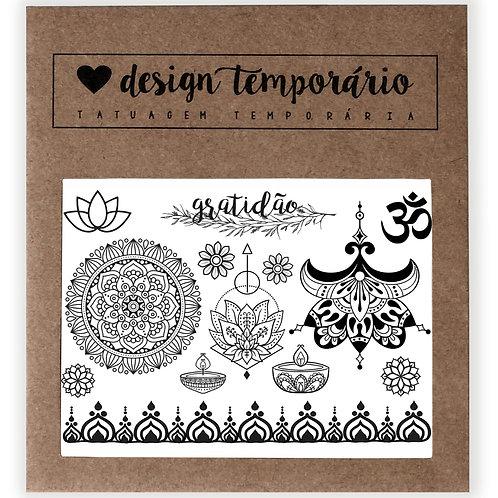 Cartela Tatuagem temporária Gratidão - Design Temporário