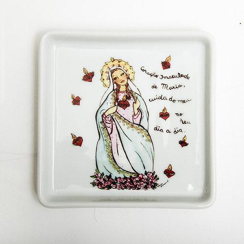 Prato Quadrado Pequeno Imaculado Coração de Maria | Santeiro - Atelier Patricia