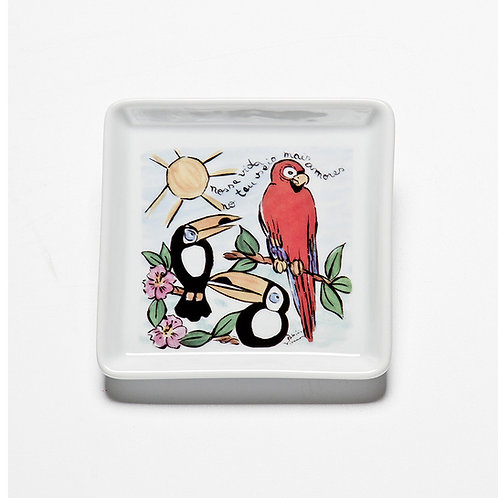 Prato Quadrado Pequeno Pássaros | Brasileirinho