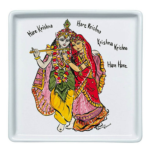 Prato Quadrado Pequeno Hare Krishna | Oriente - Atelier Patricia Virmond
