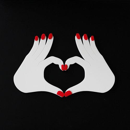 Par de Mãos Coração - Wall Done