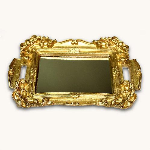 615 - Bandeja arabescos dourada com espelho