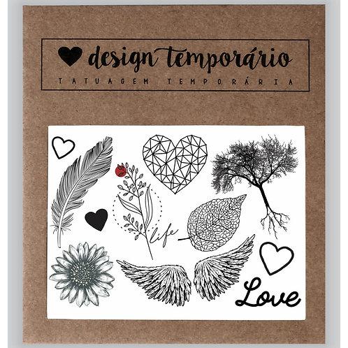 Cartela Tatuagem temporária Natureza - Design Temporário