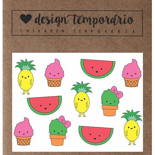 Cartela Tatuagem temporária Frutinhas - Design Temporário