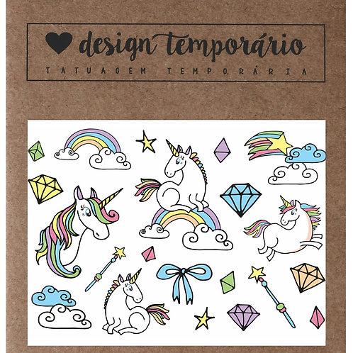 Cartela Tatuagem temporária Unicórnio Infantil - Design Temporário