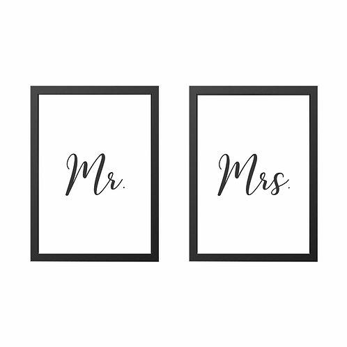 Conjunto de Quadros Mr. e Mrs. Moldura Branca A3 - Wall Done